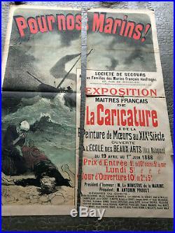 Ancienne Affiche Originale Jules Cheret Pour Nos Marins Les Maitres Caricature