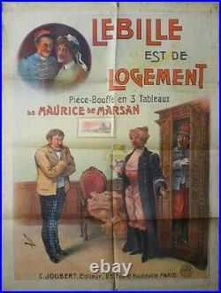 Ancienne Affiche Originale Spectacle Le Bille Est De Logement Signée Faria 1900