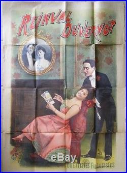 Ancienne Affiche Originale Spectacle Reinval Duvernot Signée Faria Vers 1900