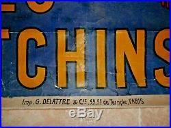Ancienne Affiche PNEU hutchinson par Mich 158 X 112 entoilée 1920 AUTOMOBILE