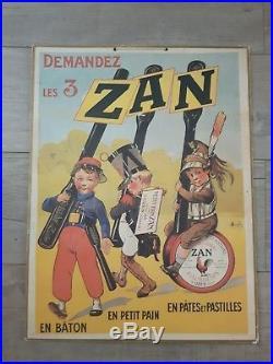 Ancienne Affiche Publicitaire Cartonnée ZAN -Marcellin Auzolle