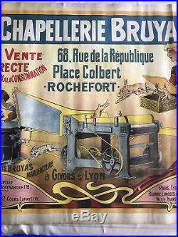 Ancienne Affiche Publicitaire Chapellerie Trois Six Marseille 1900 Commerce