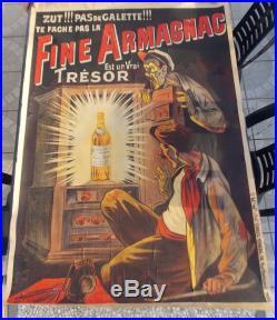 Ancienne Grande Affiche Publicitaire Signe Oge Fine Armagnac Originale De 1913