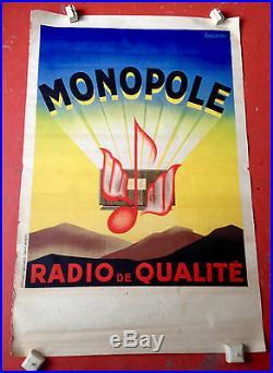 Ancienne Grande affiche vintage tsf Monopole radio de qualité