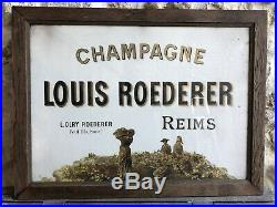Ancienne Pub Affiche Sous Verre Louis ROEDERER champagne Old Poster Alcool 1930