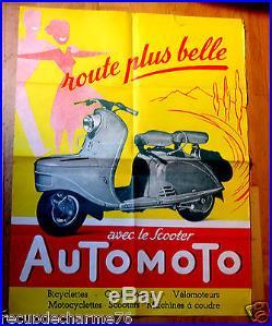Ancienne affiche AUTOMOTO avec le SCOOTER AUTOMOTO ROUTE PLUS BELLE ANNEES 50