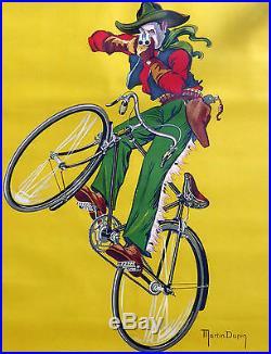 Ancienne affiche Armes cycle vélo saint Etienne signé MARTIN DUPIN chasse