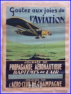 Ancienne affiche Propagande Aéronautique AERO-CLUB de CHAMPAGNE Aviation