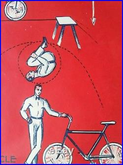 Ancienne affiche annees 30 cirque acrobate velo the darwins RARE