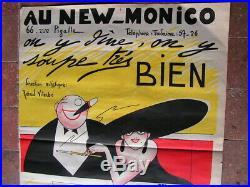 Ancienne affiche cabaret new monico 66 rue Pigalle Paris illustrateur Moriss