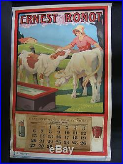 Ancienne affiche calendrier fromage ferme agriculture ernest ronot 1929