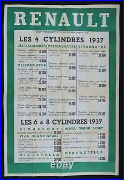 Ancienne affiche concession RENAULT 4 6 8 CYLINDRES 1937 80x120 old poster
