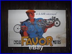 Ancienne affiche favor ancien vélo et ancienne moto no plaque emaillee