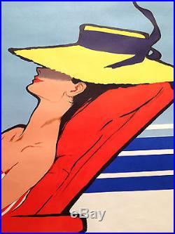 ancienne affiche original vintage poster relax rene gruau bateau paquebot. Black Bedroom Furniture Sets. Home Design Ideas
