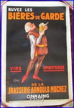 Ancienne affiche originale Bières de Garde Arnould Mochez Onnaing 1930 Entoilée
