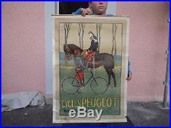 Ancienne affiche peugeot ancien vélo no plaque emaillee militaria poilu