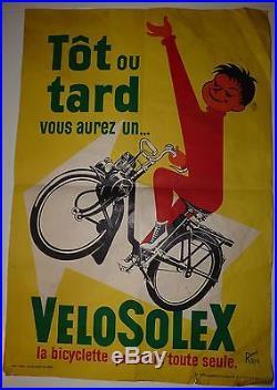 Ancienne affiche publicité SOLEX VELOSOLEX cycle antique poster publicity