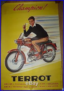 Ancienne affiche publicité de moto TERROT cycle antique poster publicity