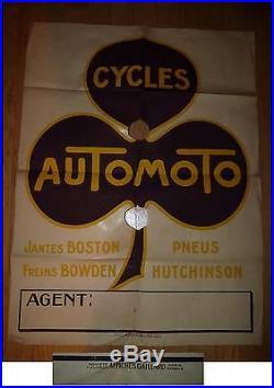 Ancienne affiche publicité de vélo AuTomoTo cycle antique poster publicity