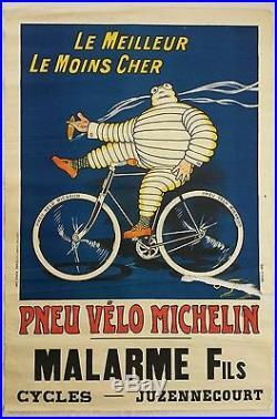 Ancienne affiche publicitaire Pneu vélo MICHELIN O'Galop Juzennecourt 52