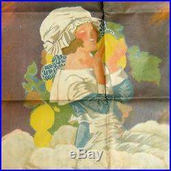 Ancienne affiche publicitaire lithographique Bière Brasseries de LONGWY rare
