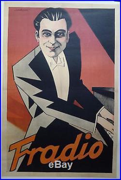 Art déco FRADIO pianiste Harford AFFICHE ORIGINALE ANCIENNE années 20/30 /R175