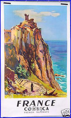 Arthur Fages French Railways Sncf Corsica Corse Affiche Ancienne 1958
