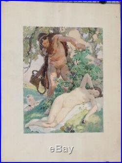 Auguste LEROUX DESSIN AQUARELLE NYMPHE ET SATYRE MYTHOLOGIQUE PAN 31 X 24,5 CM
