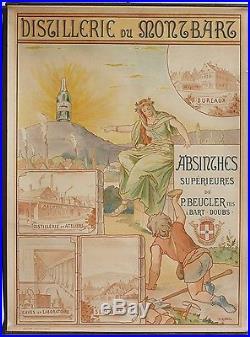 Authentique affiche absinthe BEUCLER dépoque 1910