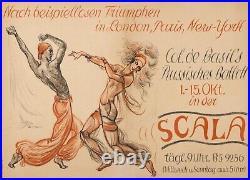 BALLETS RUSSES LA SCALA 1927 34x47 CM BERLIN AFFICHE ENTOILÉE