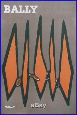 BALLY Affiche originale entoilée Litho VILLEMOT années 50 44x64cm