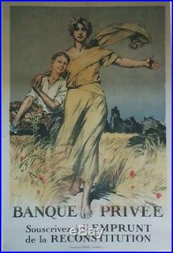 BANQUE PRIVEE EMPRUNT DE LA RECONSTITUTION 1920 Affiche orig. Ent. LELONG