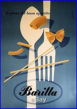 BARILLA Affiche originale entoilée Litho 1952 Erberto CARBONI 71x96cm