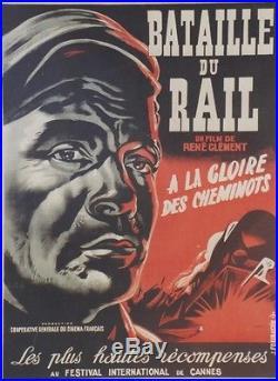 BATAILLE DU RAIL Affiche originale entoilée Litho FOURASTIE 1945 René CLEMENT