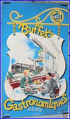 BAUDOUIN Affiche ancienne 1950 SNCF BUFFET GASTRONOMIQUE