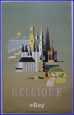BELGIQUE par Conrad AFFICHE ORIGINALE ANCIENNE /R386