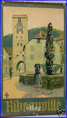 BELLE AFFICHE ANCIENNE HENRI GEORGE TROUSSARD RIBEAUVILLE ALSACE circa 1920