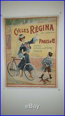 BELLE AFFICHE ANCIENNE ORIGINALE VELO ANCIEN CYCLES REGINA signée Paolo HENRI