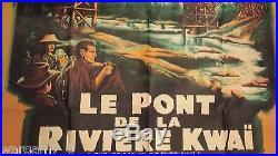 BELLE AFFICHE DE CINEMA ANCIENNE LE PONT DE LA RIVIERE KWAI 160 CM X 118CM