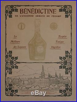BENEDICTINE DE L'ANCIENNE ABBAYE DE FECAMP Affiche originale entoilée A. H. 1904