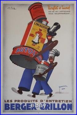 BERGER-GRILLON Affiche originale entoilée Litho G. FAVRE vers 1935 84x123cm