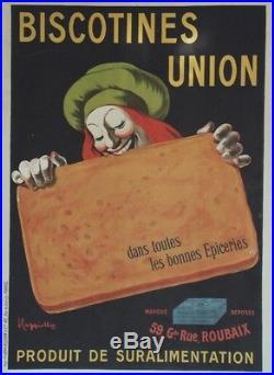 BISCOTINES UNION Affiche originale entoilée Litho 1905 CAPPIELLO 104x144cm