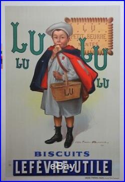 BISCUITS LEFEVRE-UTILE Affiche origin. Entoil. Litho d'après Firmin BOUISSET
