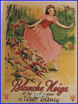BLANCHE NEIGE ET LES 7 NAINS Affiche originale entoilée Walt DISNEY Litho 1937