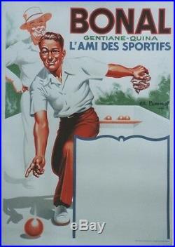 BONAL Affiche originale entoilée Litho Charles LEMMEL de 1935 62x83cm