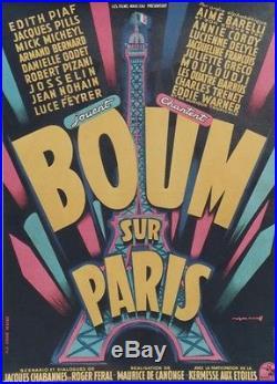BOUM SUR PARIS Affiche originale entoilée Litho 1953 ROJAC (TOUR EIFFEL)