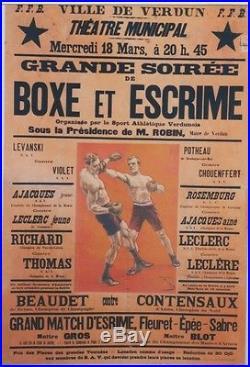 BOXE et ESCRIME VERDUN 1925 Affiche originale entoilée Litho FARIA 88x126cm