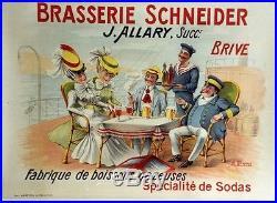 BRASSERIE SCHNEIDER Affiche originale entoilée Litho A. QUENDRAY début 1900
