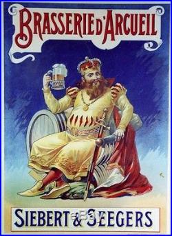 BRASSERIE d'ARCUEIL Affiche originale entoilée litho début 1900 40x54cm