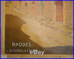 Belle AFFICHE Ancienne Paysage RHODES Méditerranée GILBERT GALLAND vers 1920